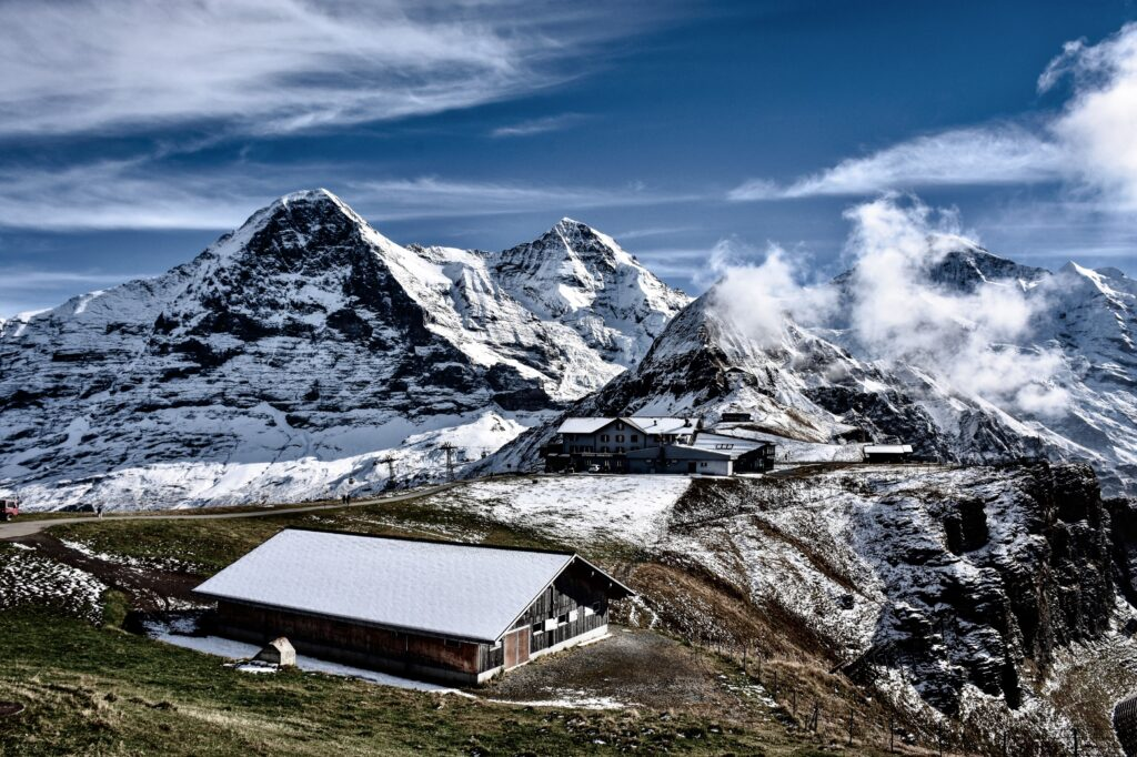 View to the famous Eiger, Mönch and Jungfrau from the top of Männlichen