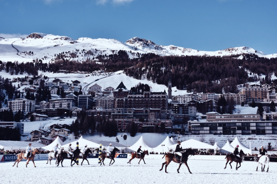 The view over St. Moritz during the Snow Polo World Cup on the frozen lake